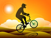 Silhouette of a BMX cyclist practicing on sand in evening background. EPS10. — Stock Vector