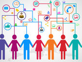 Holding mani sotto nuvola con comunicazione sociale dei media — Vettoriale Stock