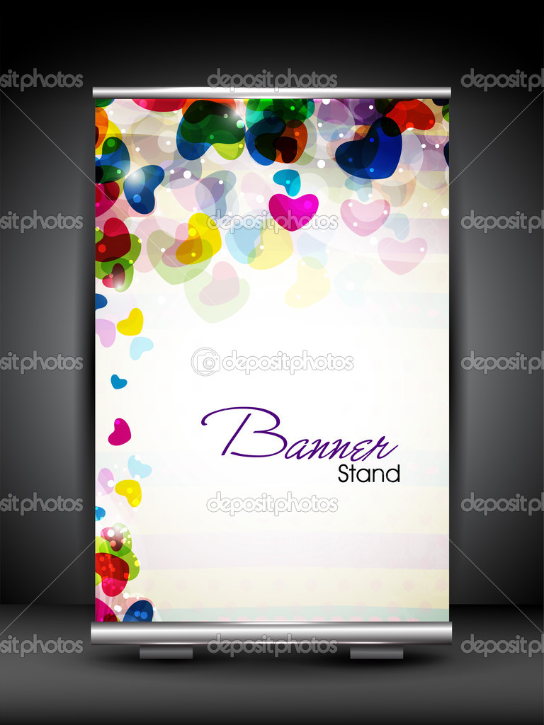 Stand banner with roll up display for product promotion or template design. EPS 10, editable vector illustration. — Stock Vector #11211047