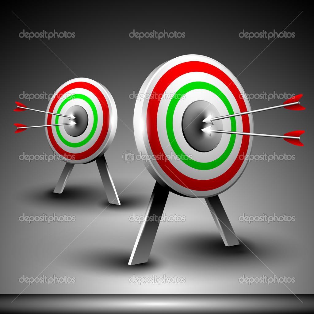 Two targets with hitting darts isolated on grey background. EPS 10.  — Stock Vector #11211464