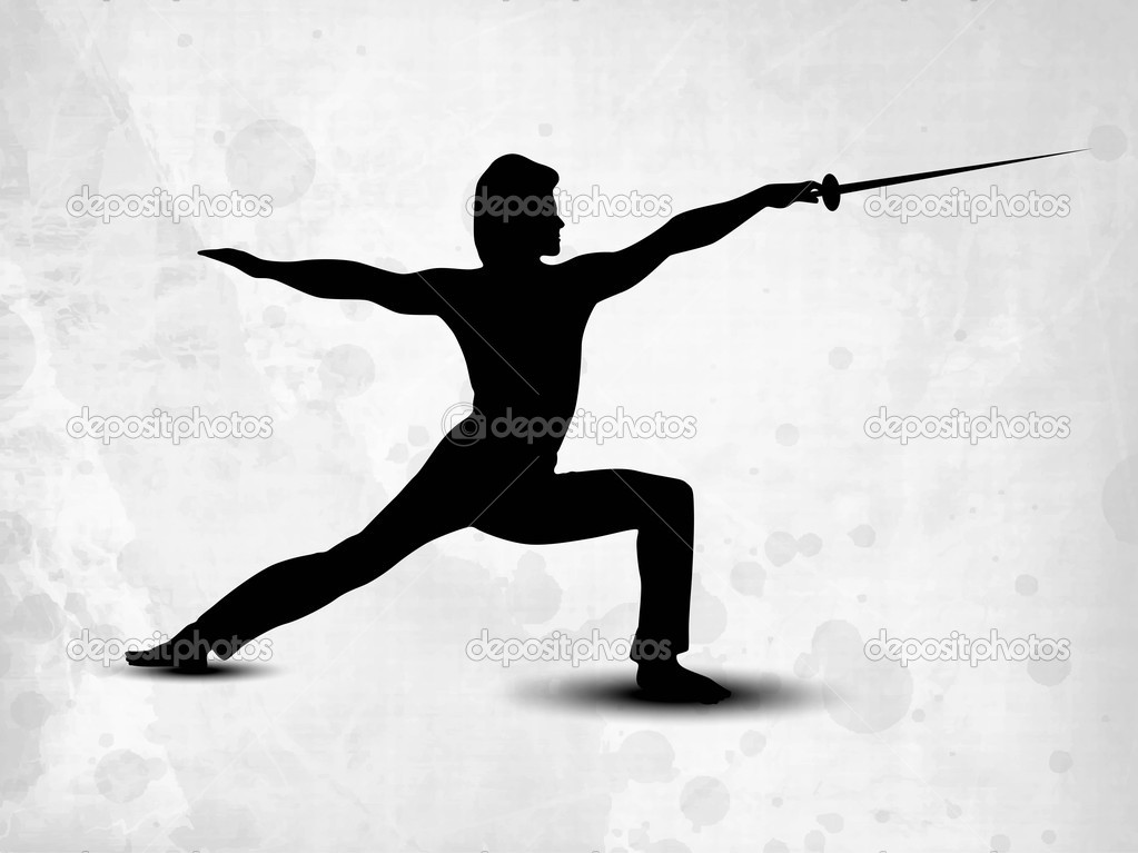Illustration Abstract Volleyball Player Silhouette: Silhouette Of Fencing Athlete Practicing On Abstract