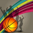 Silhouette of basketball player and basketball on grungy colorful wave background — Vector de stock #11256648