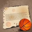 Illustration of Basketball with paper for your text on grungy re — Stock Vector
