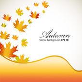 Sonbahar yaprakları sarı dalga geçmiş ve yer için senin tex ile — Stok Vektör