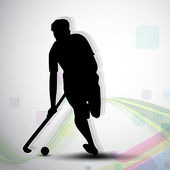 Silhouette of a hockey player with hockey stick and ball on colorful abstract wave background. EPS 10. — Stock Vector