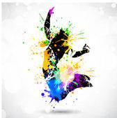 A sport Player with colorful spots and splashes on white backgro — Stock Vector