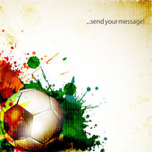Shiny soccer ball on grungy colorful background and space for yo — Stock Vector
