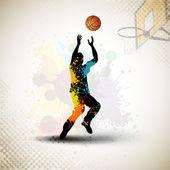 Illustrazione di un giocatore di basket praticando con palla al cour — Vettoriale Stock