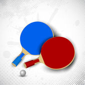Two table tennis rackets or ping pong rackets and ball on grungy — Vector de stock