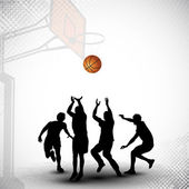 Silhouette of a basketball players playing with basket ball ma — Stock Vector