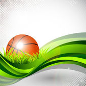 Shiny basketball in green grass on green wave and grungy grey ab — Stock Vector