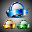 Abstract 3D glossy icon sets in blue, green and yellow color with ribbons, isolated on grey with text space.EPS 10. can be use as icons, element, banner or background. — Stock Vector