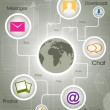 Social-Media Globe, the development of global communications. EP — ストックベクタ