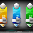 Vector colorful website header or banner set,with product box and ribbon . EPS 10. — Stock Vector