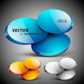 Abstract 3D glossy icon set in yellow, blue and grey color, isolated on grey with text space.EPS 10. can be use as icons, element, banner or background. — Stock Vector