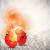 Boxing gloves in fire on grungy dotted grey background. EPS 10. — Stock Vector
