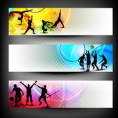 Sport colorato astratto banner set. — Vettoriale Stock