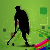 A Hockey player on green abstract background. — Stock Vector