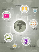 Social-Media Globe, the development of global communications. EP — Stockvector
