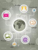 Social-Media Globe, the development of global communications. EP — Stock Vector
