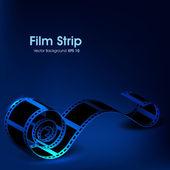 Film stripe or film reel on shiny blue movie background. EPS 10 — Stock Vector