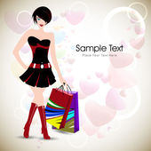 Fashionable girl with shopping bags. EPS 10 — Stock Vector