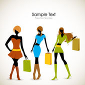 Fashionable girls with shopping bags. EPS 10. — Stock Vector