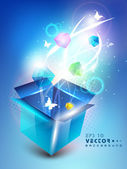 3D blue opened box with full of shine small gift box and butterflies, Abstract background. EPS 10. — Stock Vector