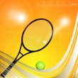 Stock Vector: Tennis racquet and ball with net on shiny orange background with wave pattern. EPS 10.