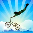 ������, ������: Vector bmx cyclist performing stunt