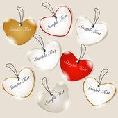 Forme di cuore colorato con effetto trasparenza, amore saluto ca — Vettoriale Stock