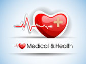 Editable vector background - heart and heartbeat symbol on refle — Stock vektor