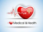 Editable vector de fondo - símbolo de corazón y el latido del corazón en refle — Vector de stock
