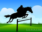 Show Jumping. Jockey on a beautiful black horse jumps over a bar — Stock Vector