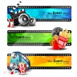 Vector de stock : Movie website headers or banners set with full of entertainment and cinemobjects. EPS 10.