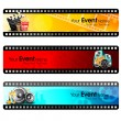 Stock Vector: Movie website headers or banners set with full of entertainment and cinema objects. EPS 10.