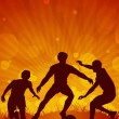Soccer action players on beautiful abstract background.EPS 10. - Векторная иллюстрация