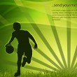 Silhouette of a basketball player on green rays background. EPS 10. - Векторная иллюстрация