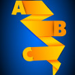 Abstract origami paper design with alphabetic letters on blue. EPS 10. - Imagens vectoriais em stock
