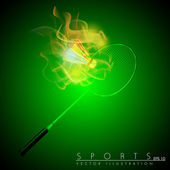 Racquet and shuttle in fire on abstract green background. Badminton game equipment. EPS 10. — Stock Vector