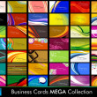 Variety of 42 detailed horizontal Colorful abstract business cards collection on different topics. Vector Illustartion Eps10. — Vecteur