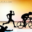 Vector illustration showing the progression of Olympic triathlon - Stock Vector