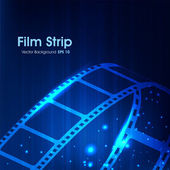 Film stripe or film reel on shiny blue movie background. EPS 10 — Stock Vector