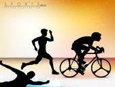 Vector ilustración que muestra la progresión del triatlón olímpico — Vector de stock