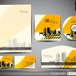 Professional Corporate Identity kit or business kit with artistic, abstract urban city silhouette for your business. includes CD Cover, Envelope, Business Card and Letter Head Designs in EPS 10. — Stock Vector