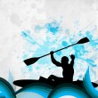 Silhouette of a man doing kayaking on abstract grungy blue background. EPS 10. - Stock Vector