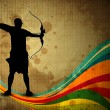 Silhouette of a archer aiming target on grungy wave, archer sport background. EPS 10. - Stock Vector