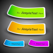 Ribbons in yellow, blue, pink and green color with text space, can be use as label, tag, bookmark or sticker. EPS 10. — Stock Vector