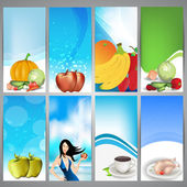 Set of website banners of organic food, heath and nutrition concept. EPS 10 — Stock Vector