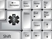 医療のアイコンのキーを持つコンピューターのキーボード。eps 10. — ストックベクタ